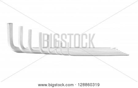 Hex key steel tool for repair isolated on white background