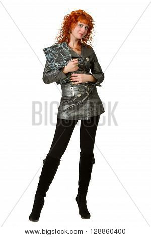 Beautiful business woman with folder isolated on white background