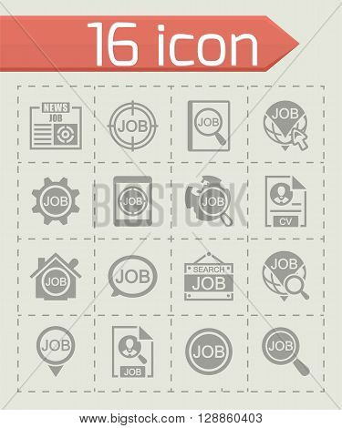 Vector Job search icon set on grey background