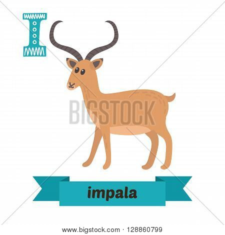 Impala. I Letter. Cute Children Animal Alphabet In Vector. Funny Cartoon Animals