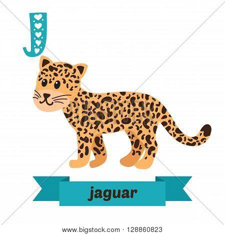 Jaguar. J Letter. Cute Children Animal Alphabet In Vector. Funny Cartoon Animals