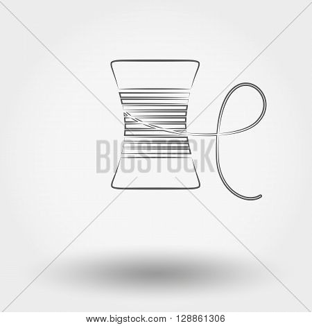 Simple line web icon Spool of thread. Vector illustration on a white background. Doodle, cartoon style.