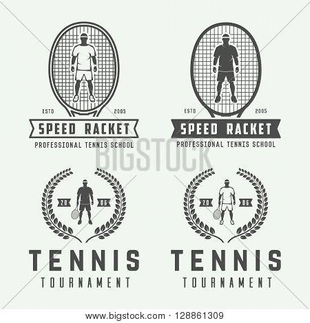 Set of vintage tennis logos emblems badges labels and design elements. Illustration