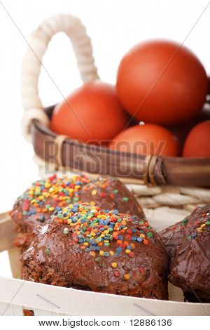 Chocolate Cakes and Basket with Easter Eggs