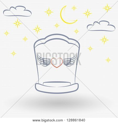 Simple line web icon Baby Cradle. Vector illustration on a white background. Doodle, cartoon style.