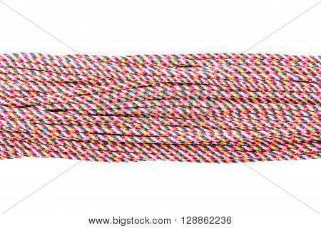 Connected concept Different ropes isolate on white with clipping path