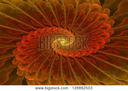 On this picture is fractal spiral with shades of gold color.