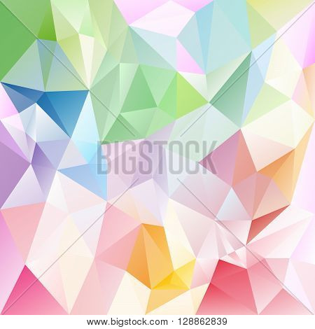vector abstract irregular polygon background with a triangular pattern in light pastel full spectrum colors