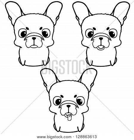 Set of french bulldog puppies. Black and white vector illustration of cute little dog with big head. Smiling friendly pup with unusual face. Isolated on white