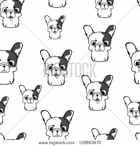Seamless pattern with french bulldog puppies. Monochrome vector bulldog. Wallpaper with cute little cartoon dog with big head. Smiling friendly french bulldog