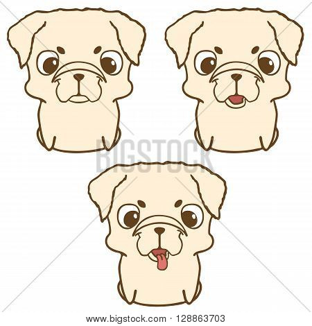 Set of pug puppies. Sweet little dogs in cartoon style. Friendly and happy sitting puppies. Hand drawn vector illustration isolated on white