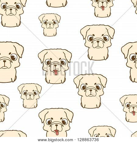 Seamless pattern with pug puppies. Cute little dogs in cartoon style. Colored brown pug puppy. Seamless texture with pug pupies. Seamless wallpaper with pug puppies