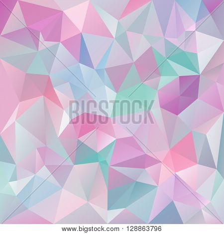 vector abstract irregular polygon background with a triangular pattern in icy pastel colors - pink violet purple blue green