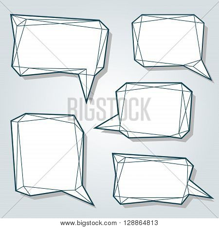 Set of thin line low polygon 3d abstract bubbles. Speech balloons for talk in a form of prism. Vector design template.