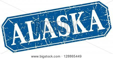 Alaska blue square grunge retro style sign