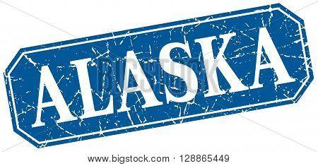 Alaska blue square grunge retro style sign
