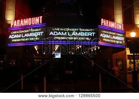 HUNTINGTON, NY-FEB 25: Signage for singer Adam Lambert at the Paramount on February 25, 2016 in Huntington, New York.