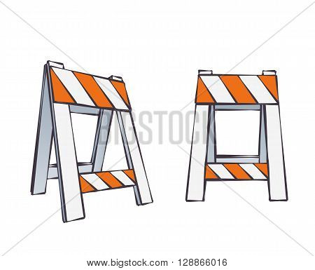 Vector Color Cartoon Illustration Of Road Barrier For Traffic and Transportation Concepts Prints Or Under Construction Web Page