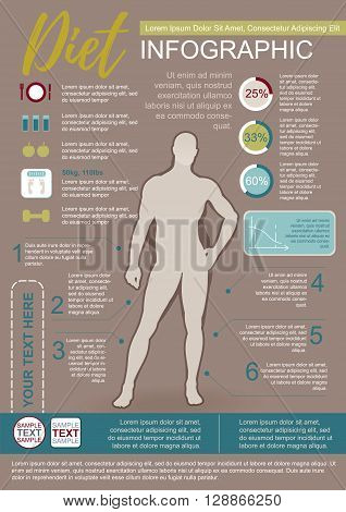Color Vector Infographic Template About Man Diet