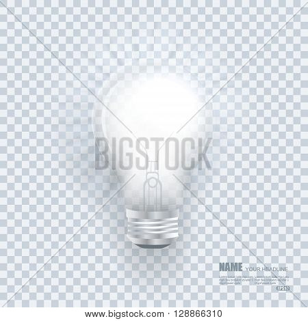 Realistic Bulb With Light Effects On Clean Transparent Background.