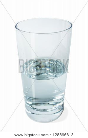 Half full glass of crystal clear water