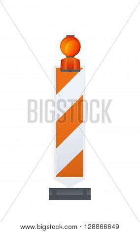 Vector Illustration Of Warning Road Beacon On Striped Bollard