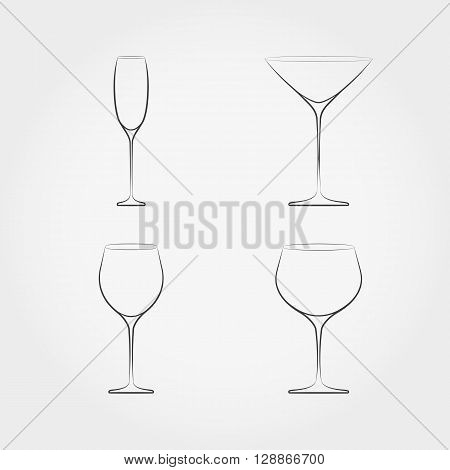 Simple set of classic stemware. For white and red wines, champagne and vermouth. Vector illustration on white background.