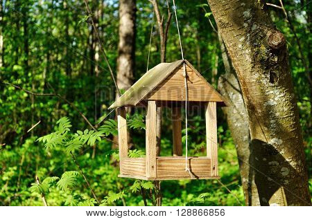 Wooden handmade bird feeder in the form of small house suspended on the rope in the forest.