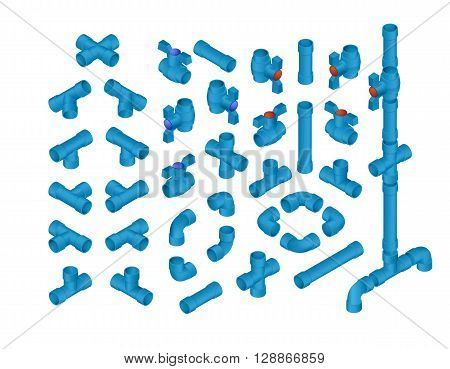 Vector Professional Set Of PVC Plumbing Elements For Cold Water. Full Isometric Views Collection