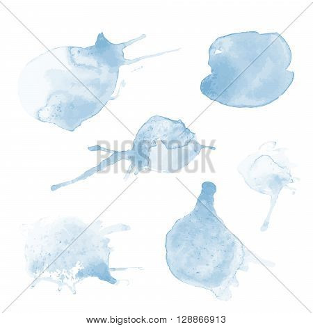 very bright transparent watercolor vector set of blue stains