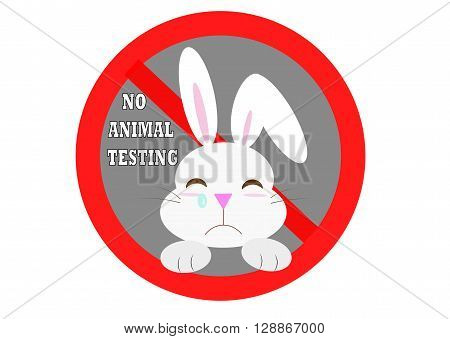 No animal testing with rabbit vector sign icon