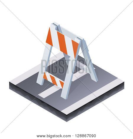 Vector Color Isometric Illustration Of Traffic Barrier