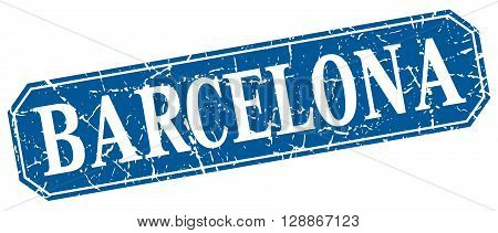 Barcelona blue square grunge retro style sign