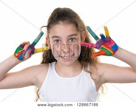 Pretty Girl Showing Her Hands Painted In Bright Colors, Isolated