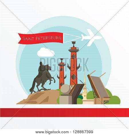 St. Petersburg detailed silhouette. Trendy vector illustration, flat style. Stylish colorful  landmarks.  Bronze Horseman, Peter and Paul Fortress, Rostral column the symbol of Saint Petersburg, Russia