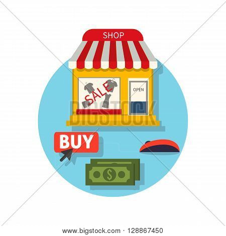 Online shop icon flat. Sale and buy. Buying in the internet shop. Selecting a product with the mouse cursor, the payment of money for the purchase. Showcase trendy clothing store. Vector illustration