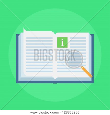 Manual book vector icon in flat style. Concept user manual isolated on colored background. Illustration of instruction manual in the form of open book. Design manual sign.