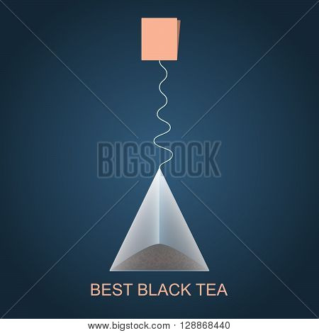 Isolated pyramid of black tea with label. Vector illustration. Background.
