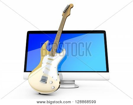 Digital guitar - A All in one computer with a Guitar. 3D illustration.
