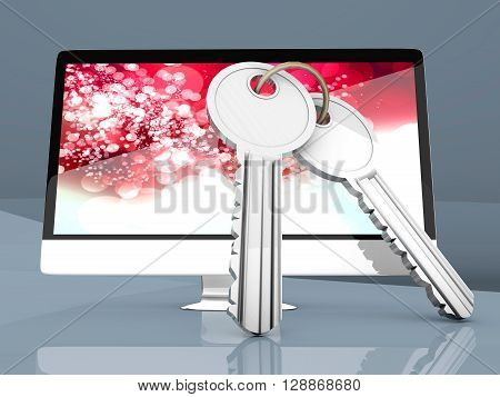 A modern All in one computer with a pair of Keys symbolizing security.