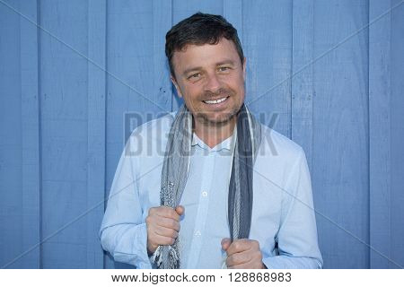 Handsome Blue Eyes Man Inviting By His Smile
