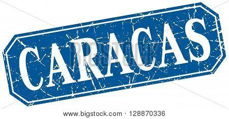 Caracas blue square grunge retro style sign