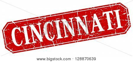 Cincinnati red square grunge retro style sign