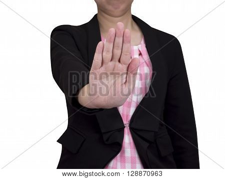 One smart business woman wear black suit and show stop hand sign with clipping path on isolated / white background (Business concept)