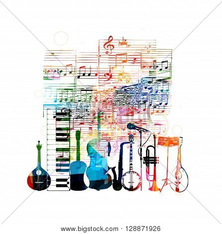 Colorful musical instruments design with notes. Vector illustration