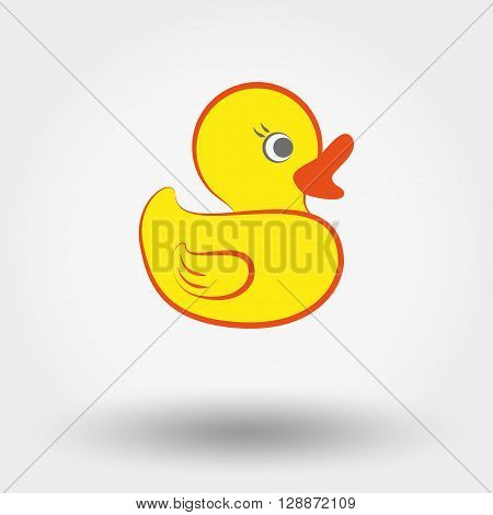 Web icon Rubber duck toy. Vector illustration on a white background. Doodle, cartoon style.