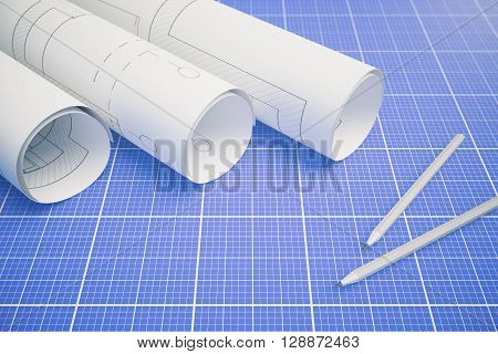 Paper rolls with architectural plan and pencils on blueprint pattern background. 3D Rendering