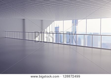 Spacious interior with railing and windows with city view. 3D Rendering