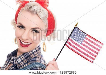 Beautiful Retro Woman Celebrates 4Th July, Isolated On White