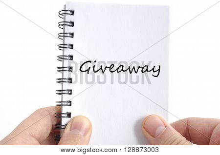 Giveaway text concept isolated over white background